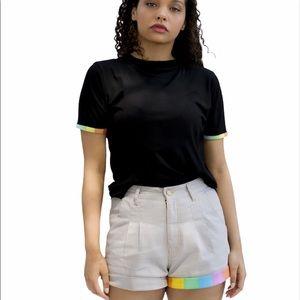 PRIDEBUNNY  Light Grey High Waisted Shorts